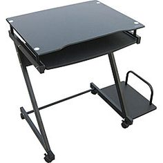 @Overstock - Set your computer on this mobile computer cart. This compact and sleek cart features a sliding keyboard tray and wheels for effortless mobility. Made for desktop computers, this cart will allow you to work in comfort wherever you are located.http://www.overstock.com/Home-Garden/Black-Glass-Computer-Cart/4709109/product.html?CID=214117 $78.99