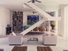 The Staircase As Sculpture - Architect Hugh Newell Jacobson. Crate Bookshelf, Cube Bookcase, Bookshelves, Stair Slide, Build Your House, Interior Styling, Interior Design, Floating Staircase, Vintage Interiors
