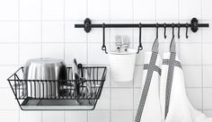 browse through IKEA kitchen range for things to use for storage: FINTORP SERIES and BYGEL SERIES