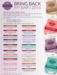 Let the Good Bars Roll! Scentsy Bring Back My Bars will be available January 2016. www.aliciascheffer.scentsy.us