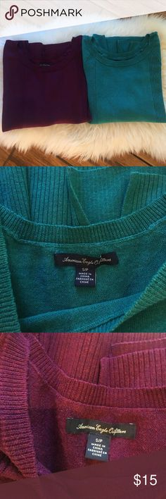 American Eagle Sweater Lot Gently worn. Never machine dried, so no shrinkage. I'm no longer a size small. Both sweaters included. American Eagle Outfitters Sweaters