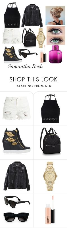 M&M fanfiction story by aicha-cherwy on Polyvore featuring Boohoo, R13, Giuseppe Zanotti, Burberry, Balenciaga, MAC Cosmetics and Lacoste