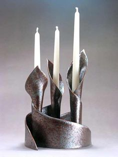 Fireworks Pottery - CandleLilies: Set of 3 elegant nesting candlesticks may be arranged many ways. Can also hold flowers. Inspired by the graceful forms of calla lilies. Graduated heights