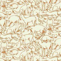 Tee | Sherwood by Henley Studio Outline Animal Orange | Fabric Spark