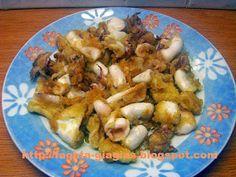 Καλαμαράκια τηγανιτά Greek Recipes, Fish And Seafood, Potato Salad, Shrimp, Oven, Veggies, Chicken, Meat, Cooking
