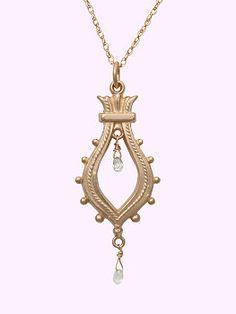 "Just Jules necklace: 14 Karat ""Art Deco"" inspired diamond briolette pendant"