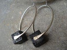 Santorini Black Lava Cube Hammered Silver Riveted Hoop