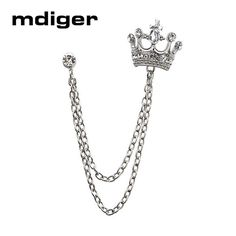 Mdiger Brand Unisex Brooches For Men's Suits Brooches Men Jewelry Women Crown Lapel Pin Male Collar Pin Badge For Wedding Gifts