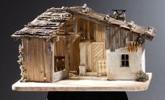 white crib for babies Village House Design, Village Houses, Fairy Houses, Christmas Nativity, Christmas Wood, Wooden Dollhouse, Dollhouse Miniatures, Forte Apache, Nativity Stable