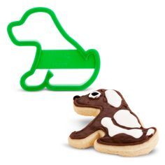 Puppy Cookie Cutter.  This fun plastic puppy shaped cookie cutter measures 7.62 cm wide x 10.2 cm long.