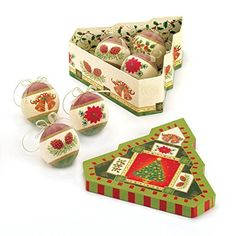 Christmas Tree Ornament Set of Three in Lovely Gift Box Holiday Collectible NEW * Click image for more details.
