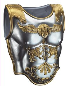 2-piece Roman Breastplate, heavy vacuum-form plastic, painted silver with gold detail.