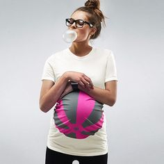Pink Beachball Maternity T shirt    This tee is made in soft combed cotton with a bit of stretch and ruching along sides for more belly room. All