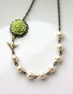 Green Rose Flower, Ivory Pearls Necklace. Bridesmaids Gifts. Sis, Bff. Vintage Inspired. Rustic Green Wedding. Flying Swallow Bird Necklace By Marolsha.