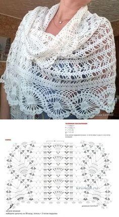 Роскошный нежнейший палантин (Вязание крючком) — Журнал Вдохновение Рукодельницы Crochet Shawl Diagram, Poncho Au Crochet, Crochet Patron, Crochet Shawls And Wraps, Crochet Blouse, Crochet Chart, Filet Crochet, Crochet Scarves, Crochet Clothes