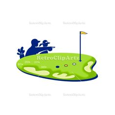 Golfer Caddie Golf Course Retro Vector Stock Illustration.  Retro style illustration of a caddie and golfer pointing and strategizing on golf course green with golf bunker and sand trap on isolated background. #illustration #GolferCaddieGolfCourse