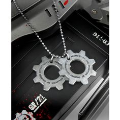GEARS OF WAR Cog Tags Necklace  #gearsofwar #cogtag #rockabilia #licensedmerchandise #merchandise #merch #necklaces #dogtags #metalchain