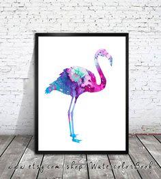 Flamingo Watercolor Print, watercolor painting, watercolor art, Illustration, art, watercolor animal, bird art, bird watercolor, by WatercolorBook on Etsy https://www.etsy.com/listing/191920155/flamingo-watercolor-print-watercolor