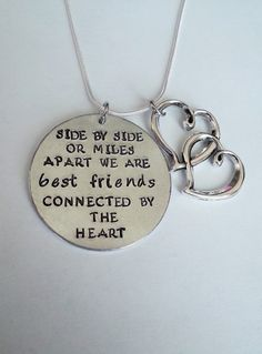 Clearance - as pictured -- Side by side of Miles Apart we are BEST FRIENDS connected by the heart hand stamped silver necklace