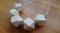 Chunky white polygon wooden necklace £15.00
