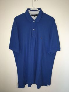 Mens TOMMY HILFIGER Royal Blue Polo Shirt Cotton Extra Large XL Short Sleeve #TommyHilfiger #PoloRugby