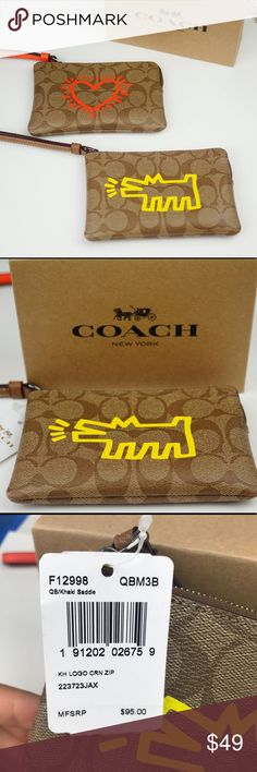 "Coach Limited Keith Haring Wristlet Yellow Dog Coach Limited Edition Keith Haring Signature Small Wristlet/Wallet. Brown and Yellow Barking Dog. NWT! 100% AUTHENTIC Style: F12998 MSRP $95.00  COLOR: Brown / Yellow DESCRIPTION: -Signature PVC Coated Canvas  -Zip closure   -Size Approximately: 6"" (Length) x 4"" (Height) Coach Bags Clutches & Wristlets"