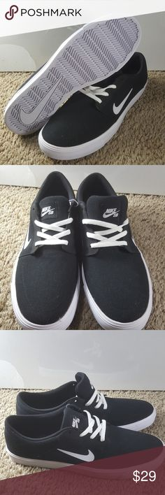 NIKE SB PORTMORE CANVAS #723874-001 BLACK / WHITE NIKE SB PORTMORE CANVAS #723874-001 BLACK / WHITE mens size 13 New [723874-001] New without box size 13 Nike SB black and white these shoes are new but do have some extra glue from Factory on them around the edges where the fabric meets the rubber. Nike Shoes Sneakers
