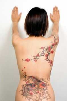 Koi fish and cherry blossom tattoo