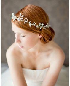 Crystal Hair Vine Wedding Headband, Crystal Bridal Crown, Pearl Hair Vine Bridal Headband, Crystal Pearl Bridal Headpiece - Breathless by SIBO Designs Bridal Hair Vine, Wedding Headband, Bridal Crown, Crown Headband, Bridal Headbands, Wedding Veils, Hair Crown, Pearl Bridal, Crystal Headband