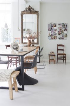 Grijs - Wit - Hout - Chairs - Barokke spiegel