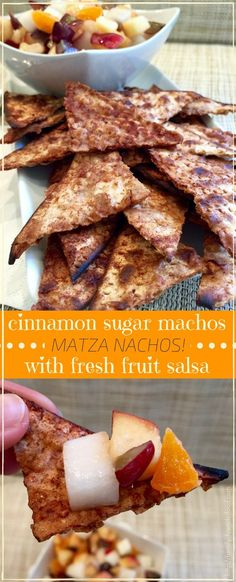 Crunchy, sweet & cinnamony, these easy & delicious matzah nachos are served with a fresh fruit salsa to make a terrific Pesach snack, dessert or even breakfast! #passover #pesach #kosher