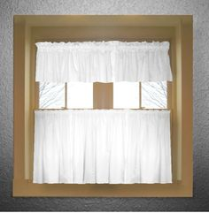 Solid Bright White Colored Kitchen Curtain only - Valance Sold Separately - (available in many custom lengths)