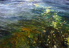 Rise to the Fly, among the penny weed at Jonah Bay, Arthurs Lake, Central Plateau, Tasmanian Highlands. Oil on gesso panel capturing the sensational fishing for a book of art about fly fishers.