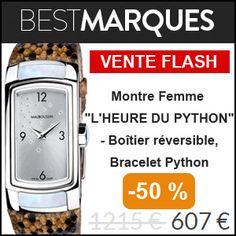 """#missbonreduction; Vente Flash : réduction de 50 % sur la Montre Femme """"L'HEURE DU PYTHON"""" - Boîtier réversible, Bracelet Python chez Bestmarques. http://www.miss-bon-reduction.fr//details-bon-reduction-Bestmarques-i853031-c1827280.html"""