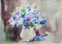 """""""Violetas y pensamientos"""" Acuarela s/papel 28x38 cm #watercolor #aquarelle #art…"""