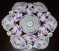"Purple Belles Ball Crinoline Ladies Girls Centerpiece 18"" Crochet  Doily Doilies"
