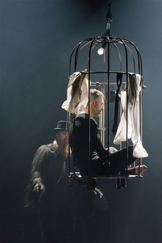 """Playing with the idea of a 'Flight Cage' where a bird doesn't know it's caged because it has a little space in which to fly........ """"Teaterkonsert Beethoven"""" Rogaland teater, Norway"""
