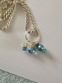 London blue topaz Lemon quartz Teal Pearl TEal apatite by Lilyb444, $40.00