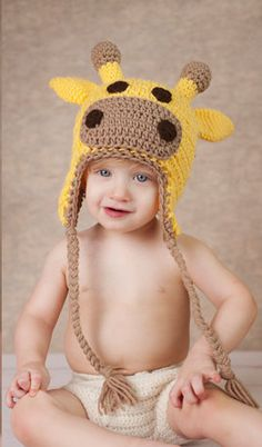 Giraffe Hat Crochet Child Teen and Adult by SweetKiwiCrochetShop