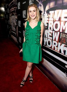 Kiernan Shipka, who wore a green pleated dress and black stappy heels, looked so grown up at the L.A. premiere of Live from New York!