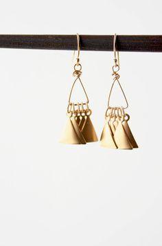Gold Triangle Earrings Geometric Jewelry Modern by laurastark, $45.00