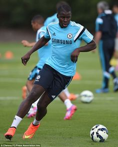 New boy: Kurt Zouma gets used to his new surroundings at Chelsea's Cobham training base...