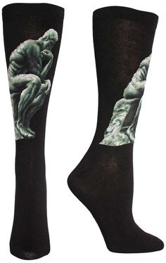 Auguste Rodin's The Thinker (~1880) intricately sewn into a trouser length sock. Fit: these socks are longer than a crew sock, and yet not quite to the knee - socks this length are most commonly called Trouser Socks. Size: One size fits most (Women's shoe size 6-9 & Men's shoe size 7-10).
