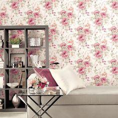 Patton Rose Garden 2. Cabbage Rose Wallpaper