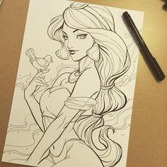 Sketched Jasmine on Sunday morning. :) #Disney #jasmine #aladdin