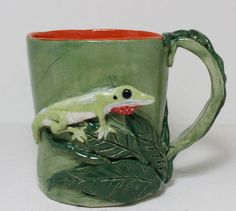 Green Anole Hand Sculpted Stoneware by GirlwithaFrogTattoo on Etsy, $65.00