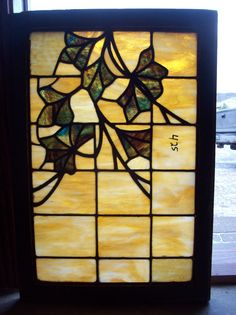 Golden Vines with Leaves Stained Glass Widow