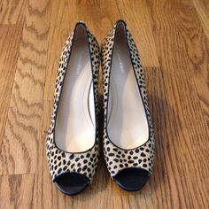 "Calvin Klein  Peep Toe Heels Animal print Peep toe w/ a 3"" heel by Calvin Klein. Dyed Cow Fur. Pre-worn & Great Condition!! Calvin Klein Shoes Heels"