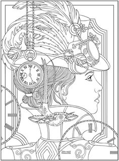 Steampunk Coloring Page. Creative Haven Steampunk Designs Coloring Book, Dover Publications.