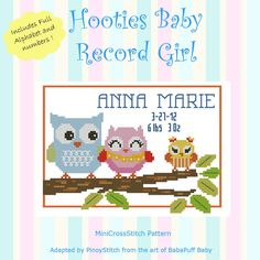 Hooties Baby Record Girl by PinoyStitch on Etsy